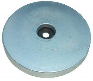 sacrificial hull anode type aluminium round flat disc